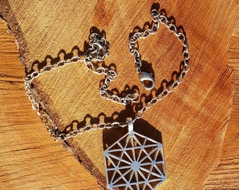 64 Tetrahedron Cast Recycled Sterling Silver Pendant - Sacred Geometry - Healing