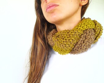 Braided knit scarf in olive green. Knit braided scarf. Scarf necklace. Unique handmade scarves. Gift for her