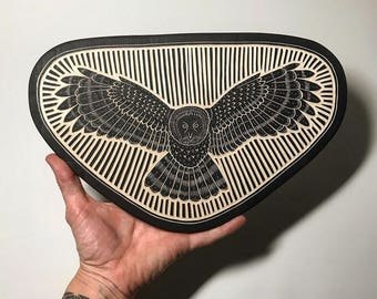 Hand Carved Owl Woodcut Wall Art