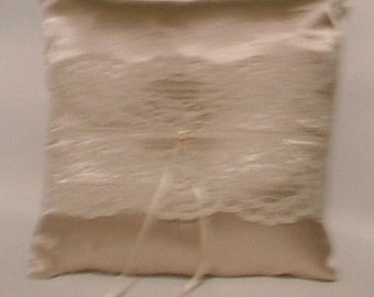 ring bearer pillow custom made chempaign satin with lace