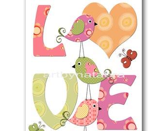 Love Nursery  Digital Print Printable Art Baby Girl Nursery Art Children Art Kids Print Kids Wall Art 8x10 11X14 INSTANT DOWNLOAD rose green