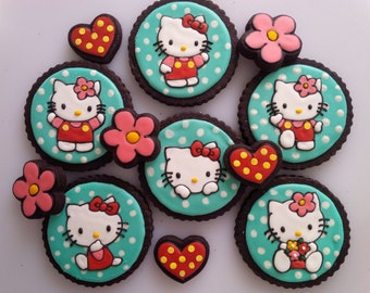 Hello Kitty Cookies - One Dozen Decorated Cookies