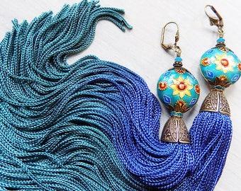 Boho Earrings, long earrings, tassel earrings, gypsy earrings, teal earrings, blue earrings, urban gypsy, bellydance, tribal, tassle, blue