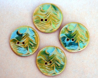 4 Handmade Buttons - Large Moon over Cedars Buttons in Grass Green Glaze and Brown Stoneware