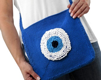 Evil Eye Bag Trendy Crochet - Postman Bag - Cross Bag - Crochet Messenger Bag Women