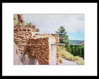 Santa Fe New Mexico Bandolier National Monument Pueblo Watercolor Effect Giclee Art Print