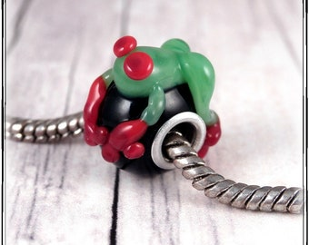Artisan Glass Lampwork Bead Rainforest Tree Frog Silver Cored Big Hole Bead For European Bracelets Or For Larger Stringing Materials