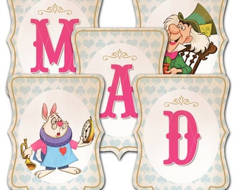 Alice in Wonderland Party Banner, We Are All Mad Here, Instant Download, Print Your Own