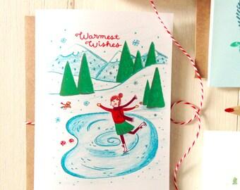 Ice Skating Holiday Card