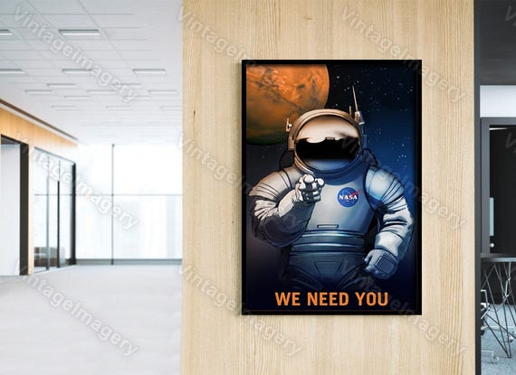 We Need You! NASA Mars explorers wanted NASA/JPL Space Travel Poster Space Art Great Gift idea for Kids Room Office man cave Wall Art Print