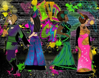 neon colors, urban ladies, fluorescent art, graffiti art print, fashion wall art, multicultural women, city themed art, Queens of the City