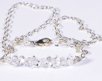 Herkimer Diamond Necklace April Birthstone Herkimer Bar Necklace