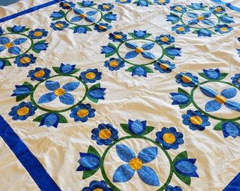 Blue & White Tulip design QUILT TOP - All Hand Applique work !
