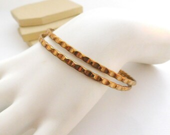 Retro Yellow Gold Tone Waved Layered Stacking Skinny Bangle Bracelet Set P28