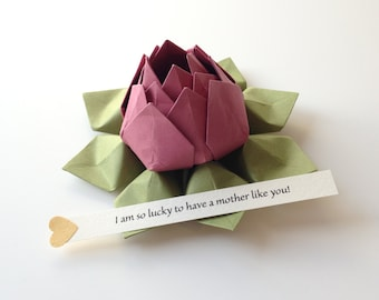 PERSONALIZED Origami Lotus Flower - paper flower - Rhubarb + Moss Green + gift box - Mother's Day, get well, birthday - can send directly