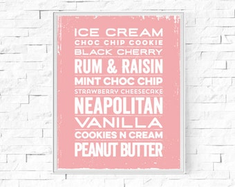 """Printable Ice Cream Typography Print - Kitchen Word Poster - Kitchen Decor - Instant Download - Contemporary Wall Art - 8""""x10"""" and A4."""