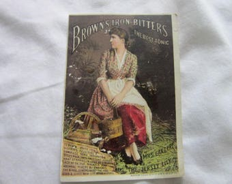 C 1885 Antique Victorian Trade Card Brown's Iron Bitters Mrs Langtry The Jersey Lily
