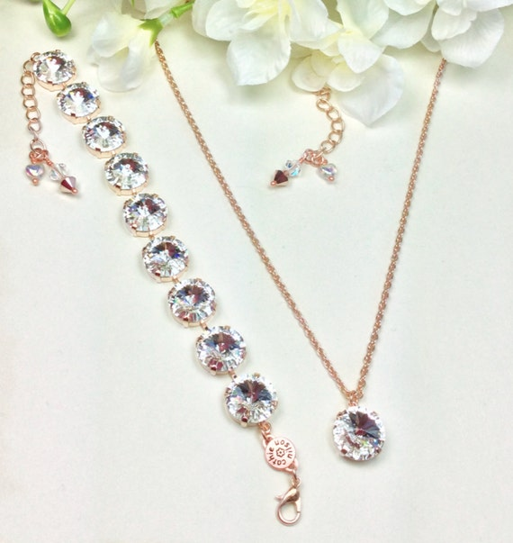 Swarovski Crystal Necklace and Bracelet - 14MM Radiant Crystals Set in Rose Gold- Pure Class- Sparkle & Shimmer - FREE SHIPPING