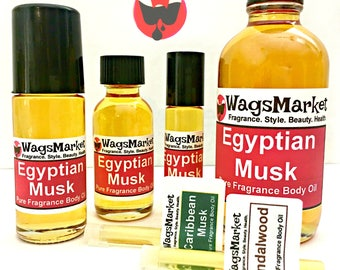 Egyptian Musk, Roll On Bottle, 1/3oz, 1oz, 100% Pure and Thick Body Oil.