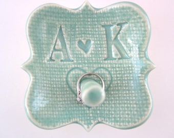 Engagement ring holder Wedding ring dish Unique bridal shower present White Mint Yellow White