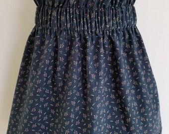 Skirt. Flower skirt. Toddler girl. Girl skirt. Navy blue. High waist skirt