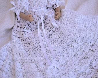 crochet pattern of baby Andrea christening gown, thread crochet christening gown, blessing gown pattern, baptism crochet pattern,