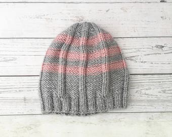 grey pink knitted hat, knitted women's hat, winter beanie, chunky knit hat, winter woolly hat, handmade hat, ladies knit hat