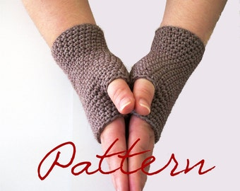 Crochet Pattern Fingerless Gloves PDF Crochet Pattern: One Stitch Solid Fingerless Gloves Wrist Warmers