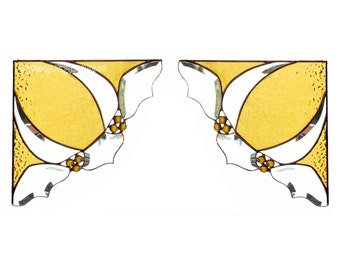 PAIR Stained Glass Window Corners Window Valance Amber Yellow Bevels