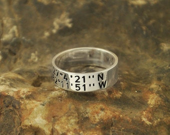Gift for Grandmother latitude longitude ring for your personalized coordinates ring 925 sterling silver ring valentine's Christmas gift