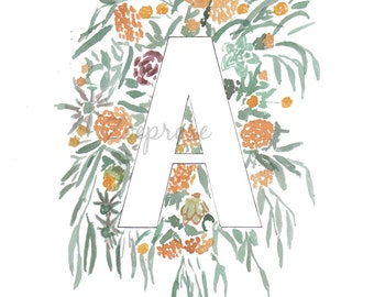 Letters A-D Floral Alphabet Letter Print, Monogram Wall Art, Flower Art, Personal Home Decor, New Baby Gift