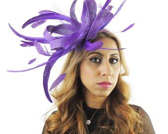 Melik Purple Fascinator Kentucky Derby or Wedding Hat With Headband (in 40 colours)