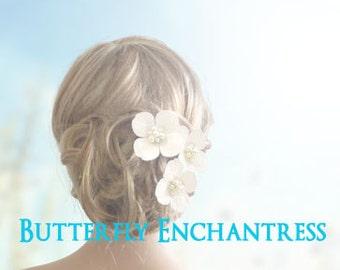 White Ivory Hair Flowers, Wedding Hair Accessories, Bridal Bridesmaid Gift - 3 Sedona Hydrangea Flower Hair Combs