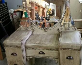 Refinished  vintage antique bedroom vanity