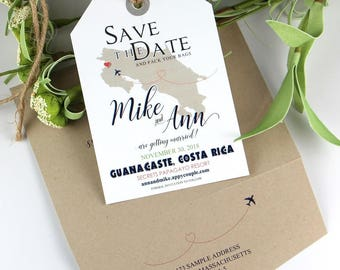 Save the Date Luggage Tags, luggage tag, save the date, wedding invitation, Costa Rica Wedding