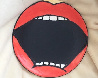 Red Lips PopArt Plate Ceramic Painting