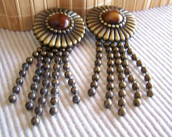 "Vintage 60""s  ""CLIP-ON DANGLES"" / Earrings with Light Bulb Chain Story"