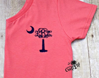 Palmetto Tree, Palm Tree, Crescent Moon Monogram, personalized, embroidered, South Carolina State Symbol