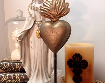 Ex-Votos Milagros Flaming Heart Religious  Tin Sacred Heart on stand locket Brass Gold Color Single item