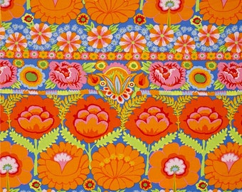 Embroidered Flower Border Orange, ARTISAN by Kaffe Fassett, Shabby Chic, Baby Girl Quilt Fabric, Modern Farmhouse, Rustic Woodland Fabric