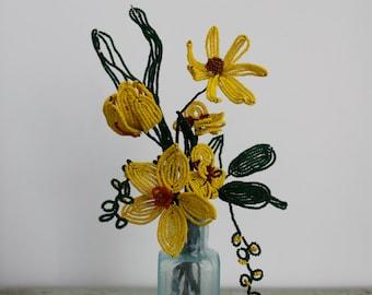 Vintage bunch of beaded flowers