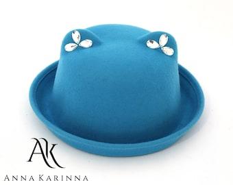 Bowler Wool Hat, Turquoise Hat, Wool Felt Hat, 100 % Wool Hat, Winter Hat, Wool Hat, Cat Hat, Fashion Hat by Anna Karinna Design