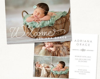 Birth Announcement Template for Photographers - 7x5 Photo Card - Sweet Baby 21 - ID237, Instant Download
