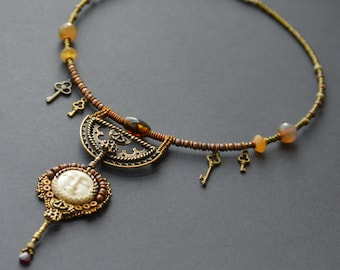 The Keymaker - Bead Embroidery Necklace, Steampunk Necklace, Steampunk Bead Embroidered Necklace