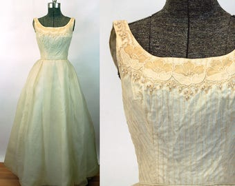 1960s gown ivory chiffon embroidered appliqued bodice pearls pintucks wedding dress Size S