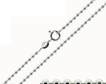 """925 Sterling Silver Bead Ball Chain Necklace 1.6mm 16"""" 18 20 22 24 26 28 30"""" Inch or 2mm 16"""" 18 20 22 24 26 28 30 32 34 36 38 40"""" Inch Boxed"""