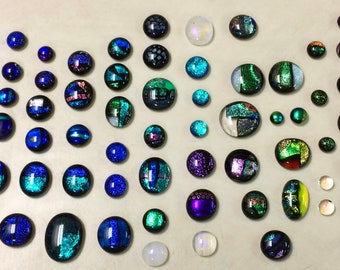 109 assorted dichroic glass cabochons