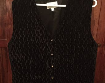 SPRING SALE! Men's vintage 1980s black velvet vest, waistcoat (A251)