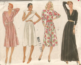8053 Vogue Sewing Pattern Loose Fitting Dress Evening Gown Size 14 36B Vintage 1980s