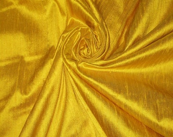 "Bright Sun Sunny Yellow 100% dupioni silk fabric yardage By the Yard 45"" wide"